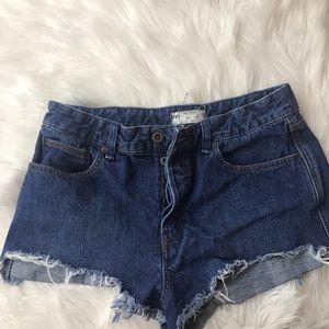 Free People Frayed Denim Shorts